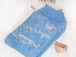 Небесно-голубой махровый халат